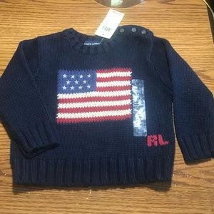 Ralph Lauren blue flag sweater size 2T NWT